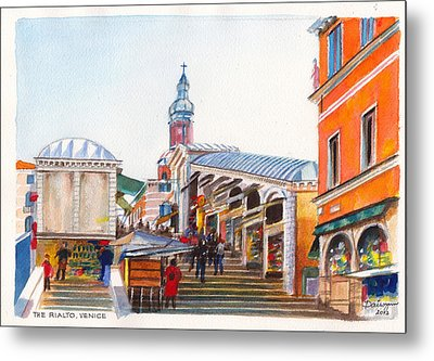The Rialto Bridge Over The Grand Canal In Venice Italy Metal Print by Dai Wynn