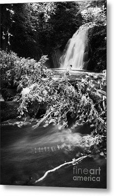 the river at the Gleno or Glenoe Waterfall beauty spot county antrim Metal Print by Joe Fox