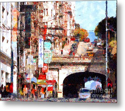 The San Francisco Stockton Street Tunnel . 7d7355 Metal Print by Wingsdomain Art and Photography