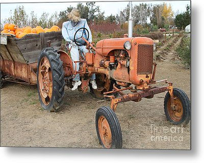 The Scarecrow Riding On The Old Farm Tractor . 7d10300 Metal Print by Wingsdomain Art and Photography