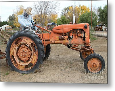 The Scarecrow Riding On The Old Farm Tractor . 7d10301 Metal Print by Wingsdomain Art and Photography