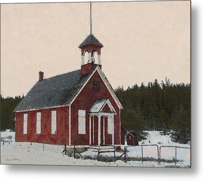 The School House Painterly Metal Print by Ernie Echols