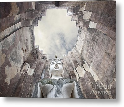 The Sculpture Of Buddha And Blue Sky In Historical Park Thailand  Metal Print by Anek Suwannaphoom