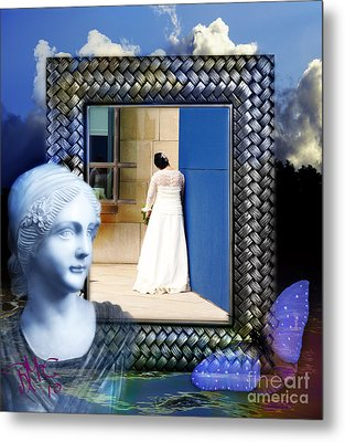 Metal Print featuring the digital art The Shy Bride by Rosa Cobos