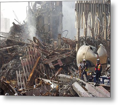 The Smoking Remains Of The World Trade Metal Print