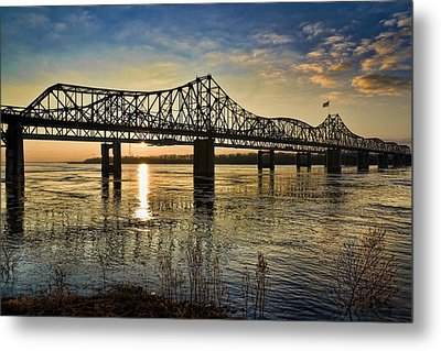 Metal Print featuring the pyrography The State Line by Ray Devlin