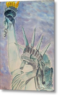 Metal Print featuring the painting The Statue Of Liberty by Eva Ason