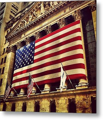 The Stock Exchange Gets Patriotic Metal Print