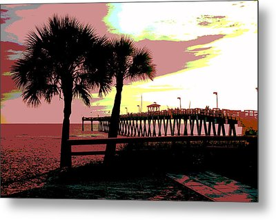 Metal Print featuring the mixed media The Sunset by Charles Shoup