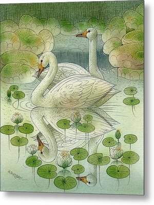 the Swans Metal Print by Kestutis Kasparavicius