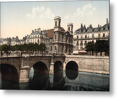 The Swing Bridge And Madeleine Church In Besancon - Doubs - France Metal Print
