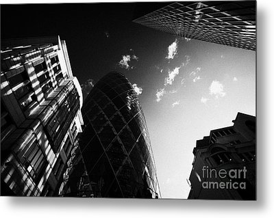 The Swiss Re Gherkin Building At 30 St Mary Axe City Of London England Uk United Kingdom Metal Print by Joe Fox
