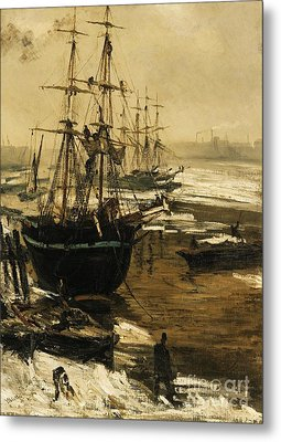 The Thames In Ice Metal Print by Pg Reproductions