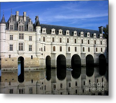 The Tranquility Of The Chateau De Chenonceau Metal Print by Anne Gordon