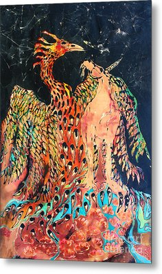 The Unicorn And Phoenix Rise From The Earth Metal Print by Carol Law Conklin