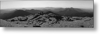 The View North From Mt. Marcy Black And White Three Metal Print by Joshua House