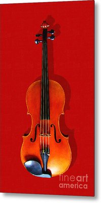 The Violin . Red Version . Painterly Metal Print by Wingsdomain Art and Photography