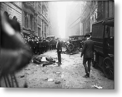 The Wall Street Bombing. A Man Stands Metal Print by Everett