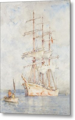 The White Ship Metal Print by Henry Scott Tuke