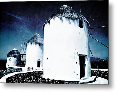 The Windmills Of Mykonos - Textured Blue Metal Print