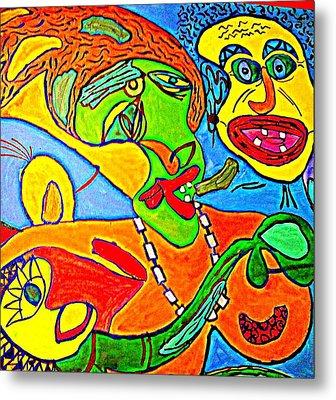 The Yellow Man - Acrylic On Stretched Canvas  Metal Print by Sebastian Joseph