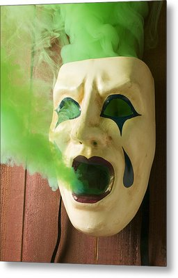 Theater Mask Spewing Green Smoke Metal Print by Garry Gay