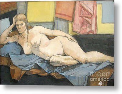 Metal Print featuring the painting Thesa by Bob  George