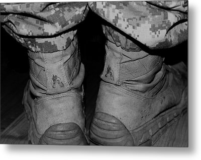These Boots Are Finally  Home Metal Print by Elizabeth  Doran