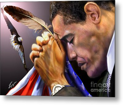 They Shall Mount Up With Wings Like Eagles -  President Obama  Metal Print by Reggie Duffie