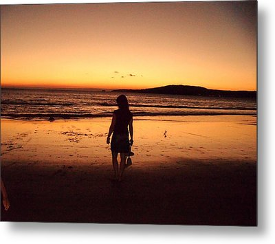Thoughtful Woman In The Beach Metal Print by Jenny Senra Pampin