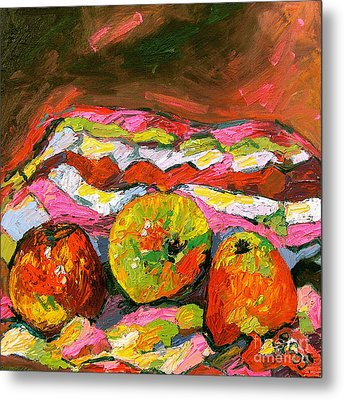 Three Apples On Patterned Cloth Metal Print by Ginette Callaway
