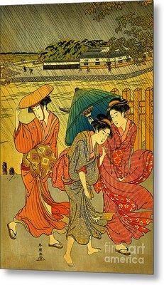 Three Beauties In The Rain 1788 Metal Print by Padre Art