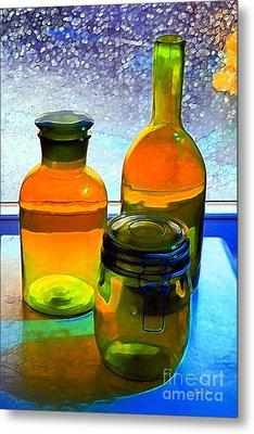 Three Bottles In Window Metal Print by Dale   Ford