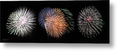 Three Bursts Of Fireworks Four July Two K Ten Metal Print by Carl Deaville