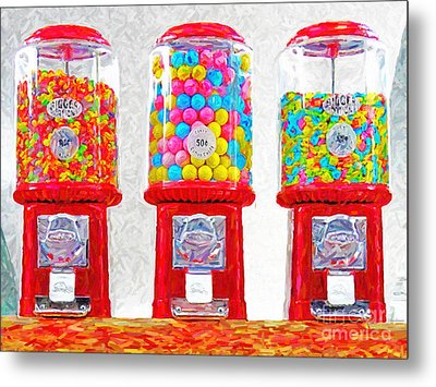 Three Candy Machines Metal Print by Wingsdomain Art and Photography