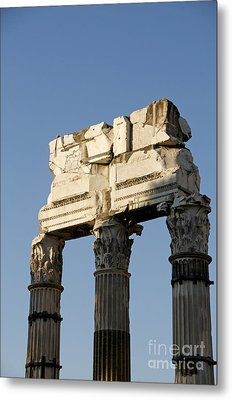 Three Columns And Architrave Temple Of Castor And Pollux Forum Romanum Rome Italy. Metal Print by Bernard Jaubert