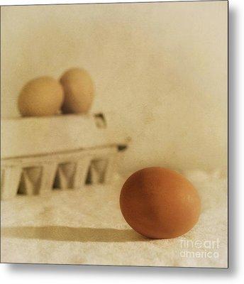 Three Eggs And A Egg Box Metal Print by Priska Wettstein
