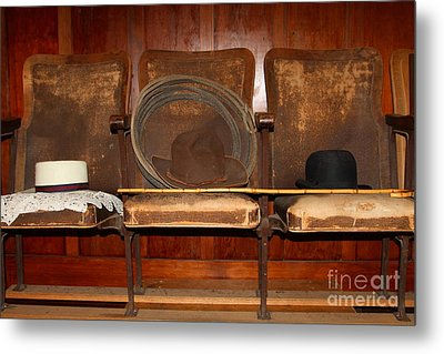 Three Hats A Lasso And A Cane At The Old Movie Theater . 7d12726 Metal Print by Wingsdomain Art and Photography