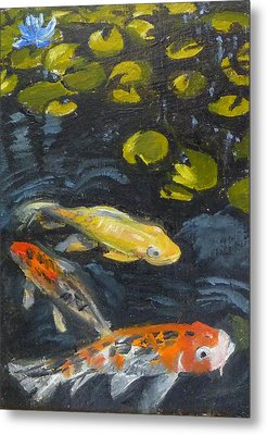 Three Koi And Lily Metal Print by Jessmyne Stephenson