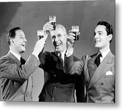 Three Men Making Toast With Glasses Of Beer (b&w) Metal Print by Hulton Archive