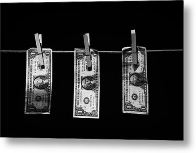 Three One Dollar Bill Banknotes Hanging On A Washing Line With Blue Sky Metal Print by Joe Fox