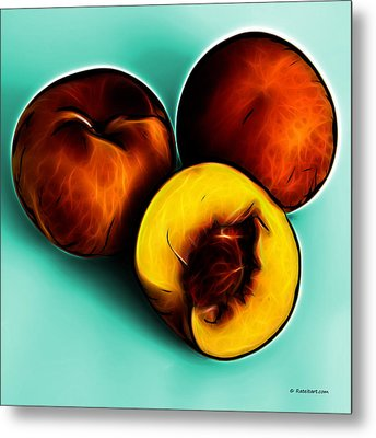 Three Peaches - Cyan Metal Print by James Ahn