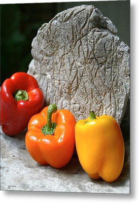 Metal Print featuring the photograph Three Peppers by Jim  Arnold