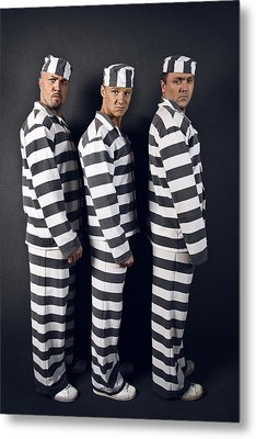 Three Prisoners. Group Of Men In Suits Of Convicts. Metal Print by Kireev Art