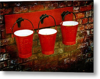 Three Red Buckets Metal Print by Svetlana Sewell