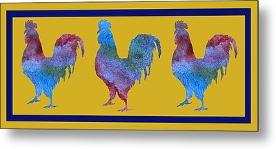 Three Roosters Metal Print by Jenny Armitage