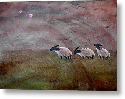Three Sheep In The Wind And Pigs Fly Metal Print