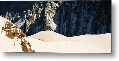 Three Skiers At Chamonix Metal Print by C Sitton