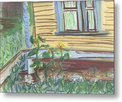 Metal Print featuring the pastel Three Sunflowers By The Porch by Denny Morreale