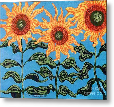 Three Sunflowers IIi Metal Print by Genevieve Esson